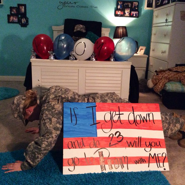 If I get down and do 23, will you go to Prom with me? #prom #army #military #proposal