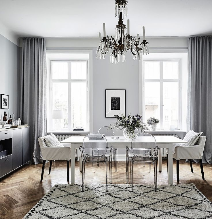 Ghost chairs dining room - rug | swedish apartment