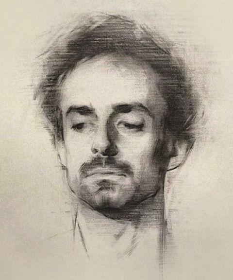 Portrait of the painter Jamie Coreth by FAA alumnus Giles Lester…