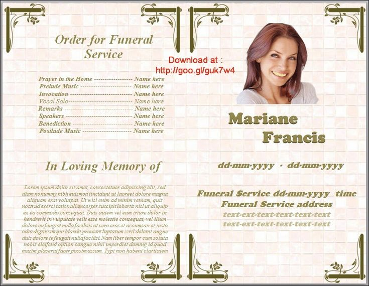 Where To Get Free Template Funeral Program In Spanish For MS Word – Program for a Funeral