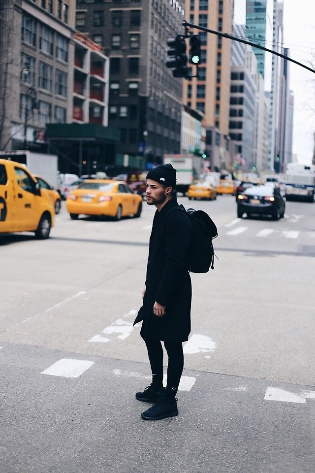 Kevin Elezaj - Nike Sneakers, Nike Socks, Nike Underwear, Urban Outfitters Coat, Sandqvist Bag, Nike Beanie - NY part 9