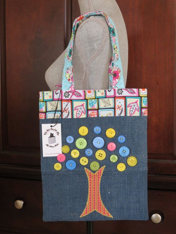 Recycled Denim and Button Tree Applique by TwilightRavenDesigns
