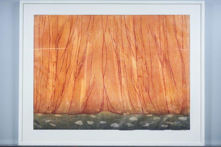 Outi Kirves: Esirippu, 1998, puupiirros, 72x97 cm, edition 7720 - Huutokauppa Helander 09/2015