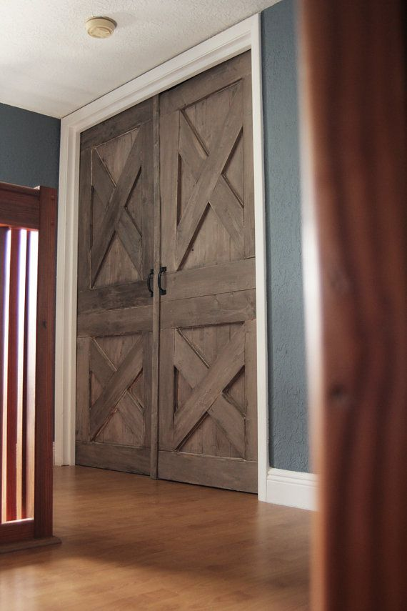 Again wooden barn door unique handmade interior rustic for Barn door closet door ideas