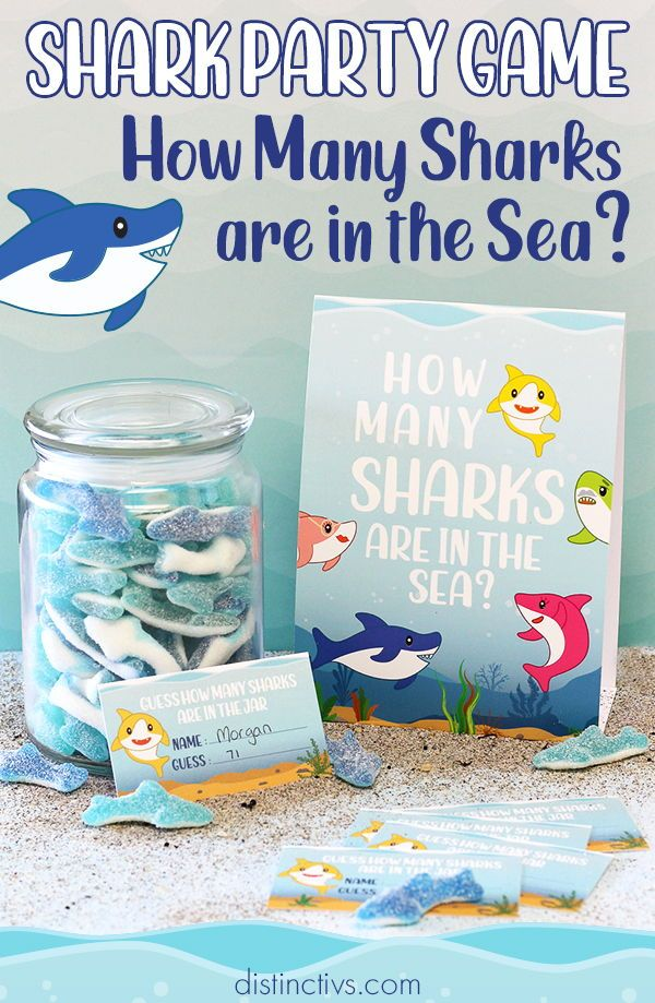 How Many Candy Sharks Party Game 1st Boy Birthday 2nd Birthday