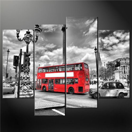 4 Panel Black White And Red London Red Bus Premium Cascade Canvas Print Picture Wall Art Painting Pictures Prints On Canvas City The Picture 3 Decor Oil For Home Modern Decoration 5 Posters Unique Gift Panel (No Frame, Rolled In A Tube,Not Ready To Hang) BetterHomeDecor,http://www.amazon.com/dp/B00IJ694I6/ref=cm_sw_r_pi_dp_C-tAtb06NDWS3DW0