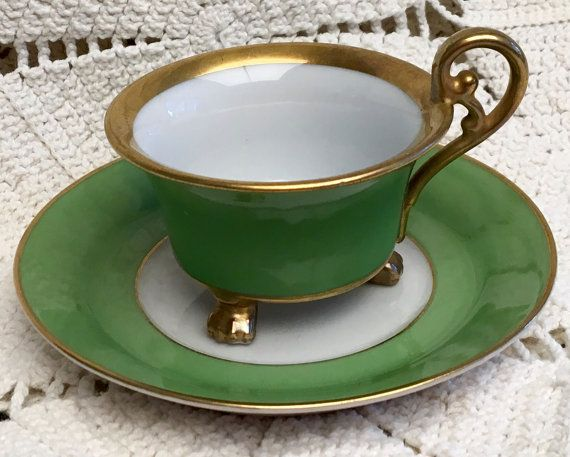 Green Vintage Espresso Cup And Saucer