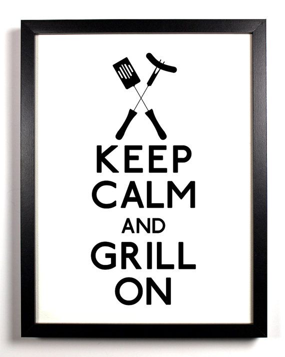 Keep Calm and Grill On BBQ Tools 5 x 7 by KeepCalmAndStayGold, $6.99
