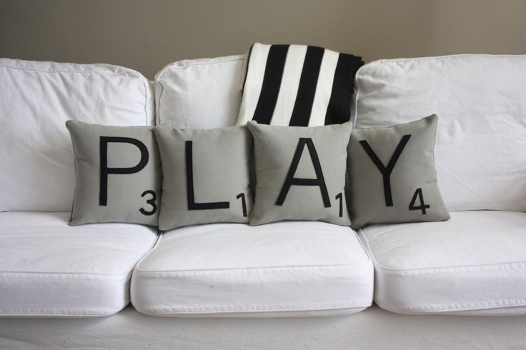 PLAY Scrabble Pillows - Inserts Included // Scrabble Tile Pillows // Giant Scrabble Tiles // Large Scrabble Tiles // Decorative Pillows by dirtsastudio on Etsy https://www.etsy.com/listing/74171375/play-scrabble-pillows-inserts-included