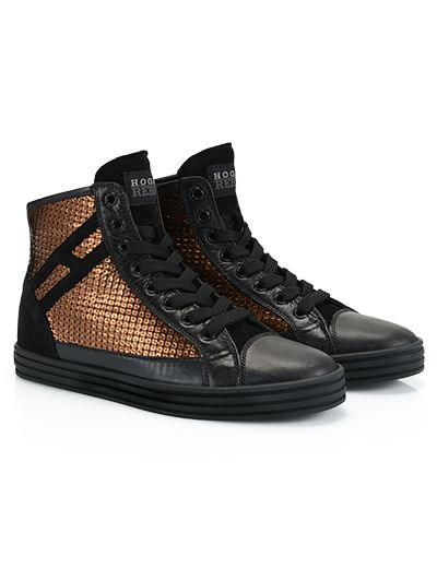 HoganRebel R182 Leather high-top sneakers with suede detailing. Featuring printed panels on the side with a 3D sequin effect and concealed wedge inside. Shiny-rock style for an unmistakable look.