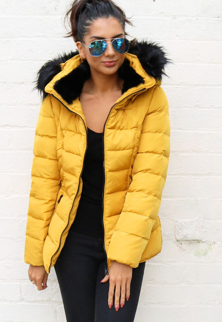 Quilted Padded Short Hooded Puffer Anorak Coat with Fur Trim in Mustard Yellow - One Nation Clothing - One Nation Clothing - 1