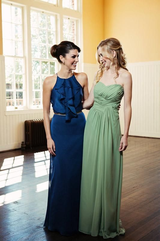 Fresh, nautical bridesmaid gowns. Blue @Jim Hjelm Occasions dress available at @Beloved Bridal & @Meg Guess. Seafoam Jasmine B2 gown available at @Facchianos Bridal & @Moliere Bridal. Photo by @Tara Lokey Photography. #wedding #bridesmaid #blue #green