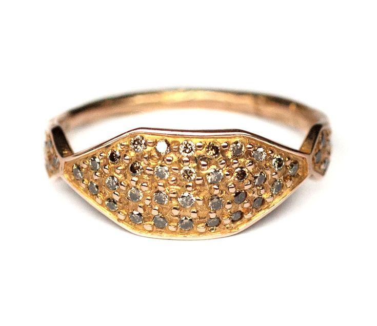 18 carat Rose Gold and Champagne Diamond Signet Ring.jpg