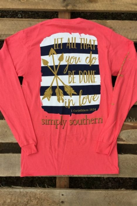 Junior tees, Preppy In Love Long Sleeve Tee by Simply Southern