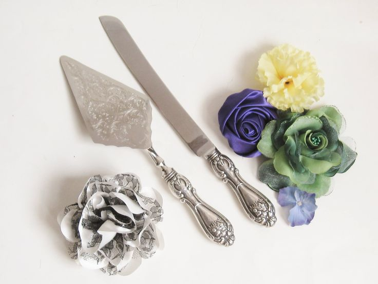 EDWARDIAN Revival Nouveau Victorian Floral Bouquet STERLING SILVER Cake Knife & Pastry Pie Server Vintage Wedding Set Downton Bridal Party by CovetedCastoffs on Etsy