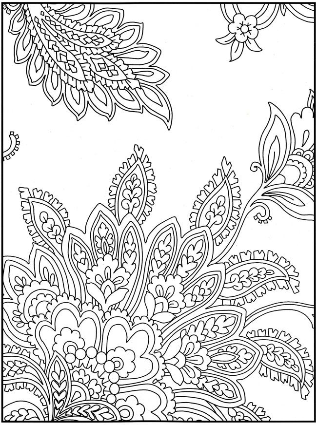 Intricate pattern for hand embroidery. One can use many bright colors or go with a sober gradation. And go bonkers over the choice of stitches to be used ;-)