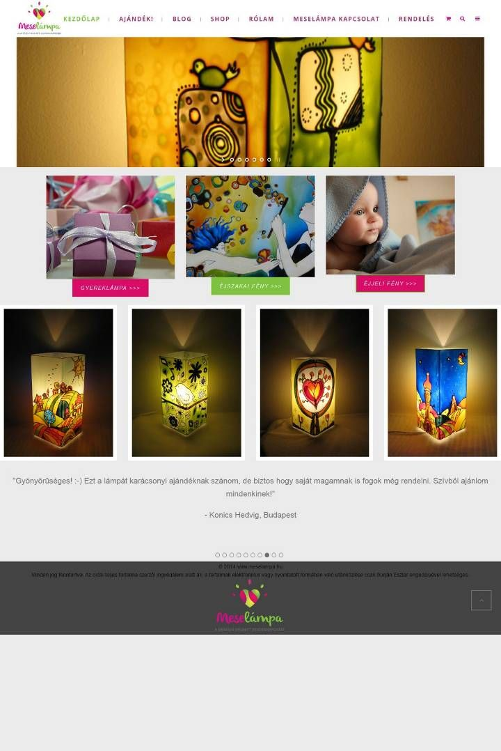 An artist woman's introduction and product and webshop page, wordpress theme redesign