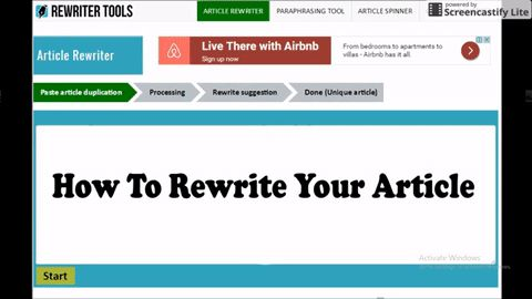 Use our free online Article Rewriter & Paraphrasing Tool to Generate 100% unique article for free. Copy and Paste your content in Article rewriter/spinner tool and genearte articles in few seconds.
