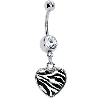$6.99 #piercing Zebra Print Heart Dangle Belly Ring