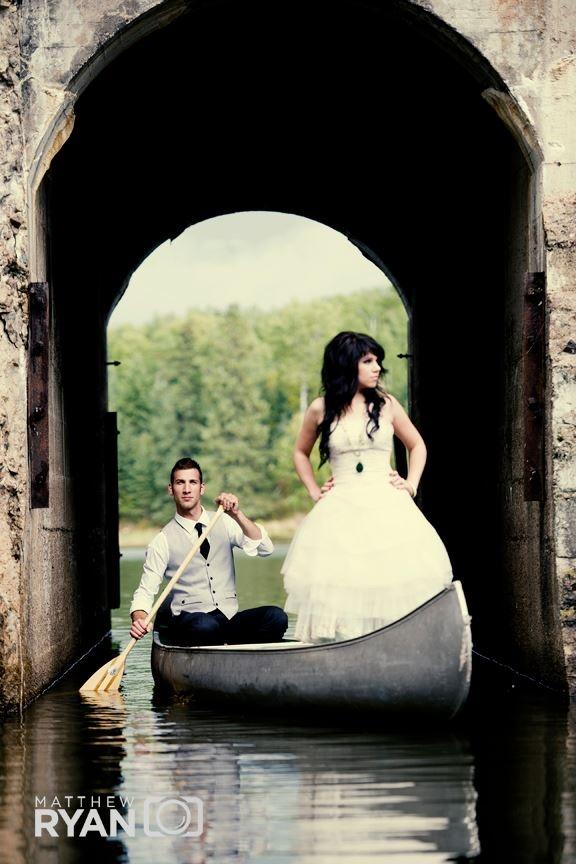 Wedding, Winnipeg, canoe, water, old architecture, wedding dress, photography