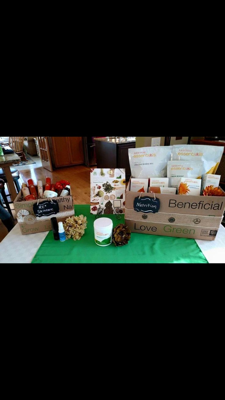 Cute display with Arbonne shipping boxes!