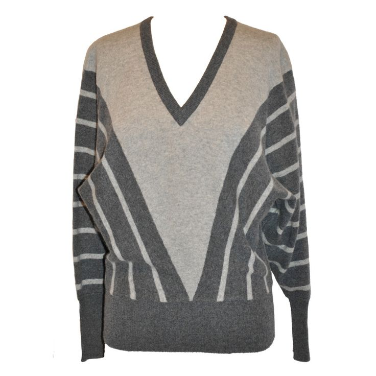 V-Neck Charcoal & Gray Cashmere Sweater | Cashmere sweaters ...