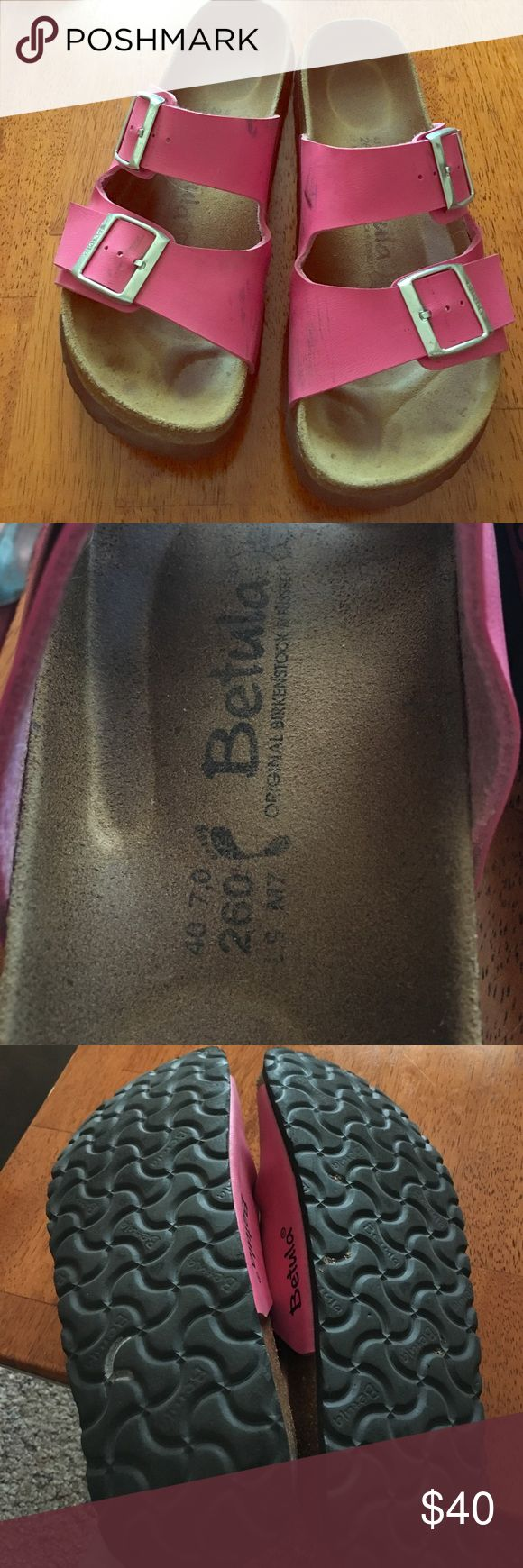 Birkenstock Betula Sandals Betula by Birkenstock sandals, worn with love! Pink leather straps in great condition. Some scuff marks on leather but so much wear left. Birkenstock Shoes Sandals
