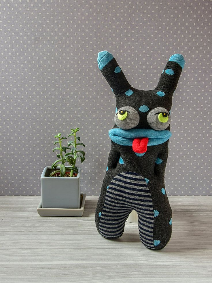 Soft sculpture sock monster gift, Plush alien gray blue gift for brother sister, Birthday present for boys girls, Unique baby shower gift by QuirksOfNature on Etsy