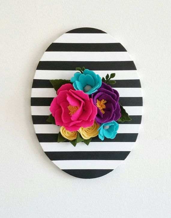 Perfect for a nursery or gallery wall! This stunning hand painted oval canvas is definitely a statement piece to have in your home. Black and white stripe wall hanging.