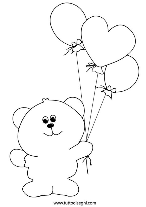 Bear With Balloons Coloring PagesBalloonsKindergartenTemplatesBearPages