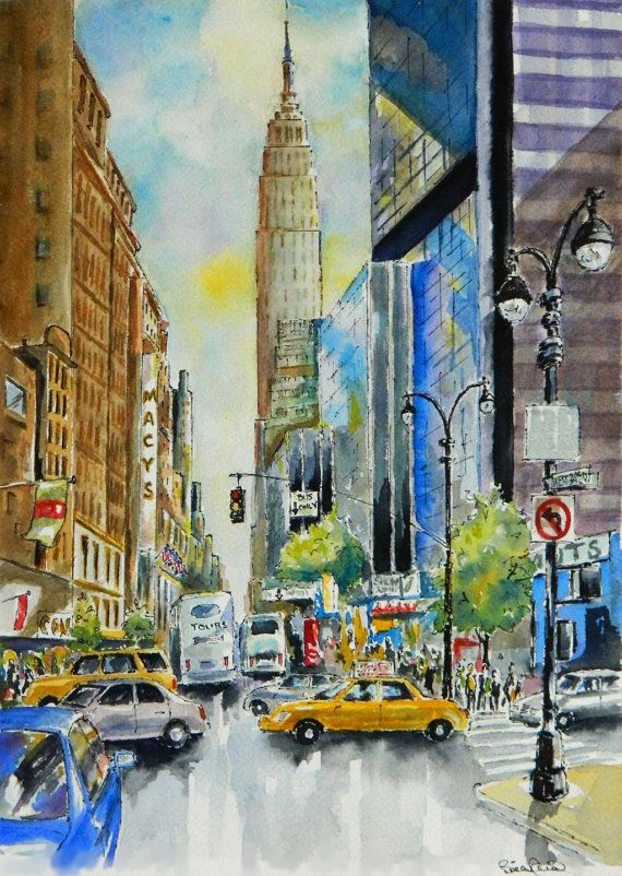 Home Decor  New York City Street  watercolor art by BillsArtShop, $18.00