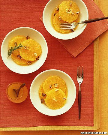 Sliced Oranges with Orange-Flower Syrup and Candied Hazelnuts | Recipe