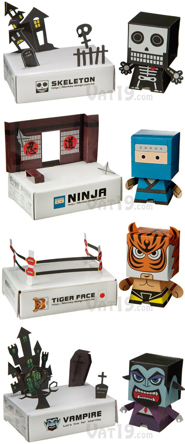 DIY Solar-Powered Paper Bobbleheads come in a variety of cool character styles. would be a neat gift for a boy