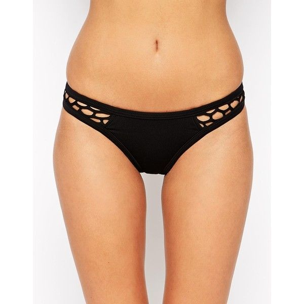 Seafolly Mesh About High Cut Brazilian Bikini Bottoms ($78) ❤ liked on Polyvore featuring swimwear, bikinis, bikini bottoms, black, swim bikini, polka dot bikini, brazilian bikini, swim wear and cut out bikini