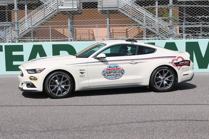 At this year's NASCAR Sprint Cup and Nationwide Series races in Miami, a 2015 Ford Mustang 50 Years Limited Edition will serve as the iconic pace car.