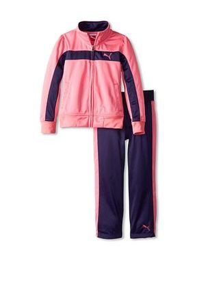 60% OFF Puma Girl's Print Colorblock Stripe Tricot Set (Carmine Pink)