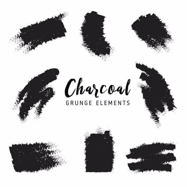 Charcoal Grunge Elements Brush Effect Set Line Grunge Png And Vector With Transparent Background For Free Download Grunge Lashes Logo Business Card Texture