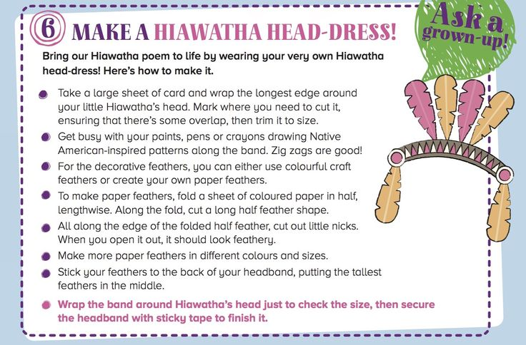 Craft your own Hiawatha headdress to wear while telling Storytime Issue 18's poem! Find out more at STORYTIMEMAGAZINE.COM