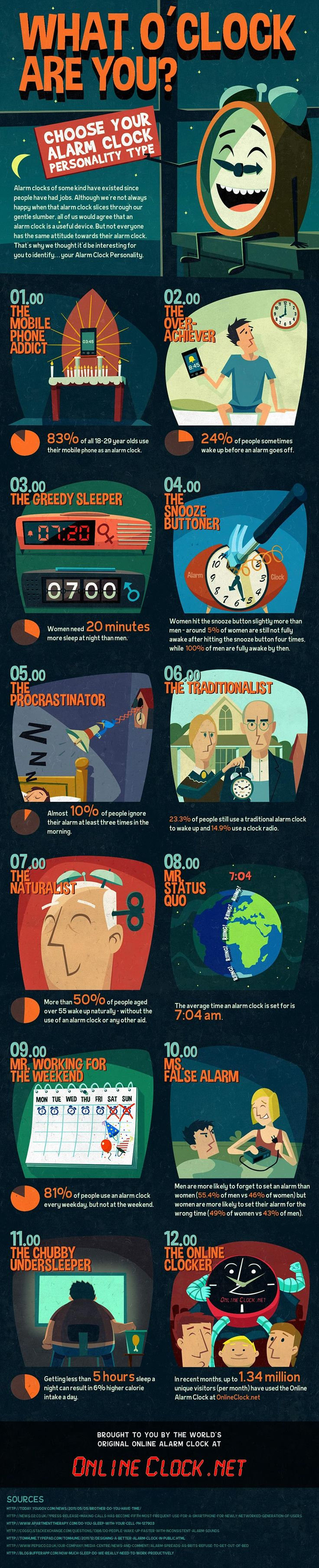 What your alarm clock personality type is infographics showcase