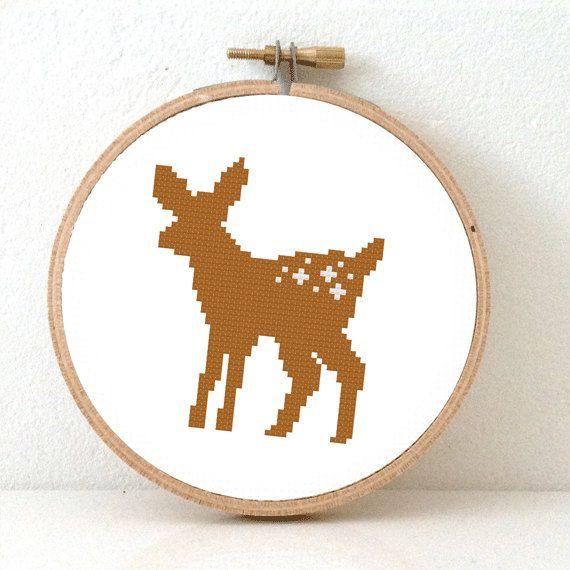 Cross stitch kit of a deer. Free Shipping. Cute deer by Studio koekoek.