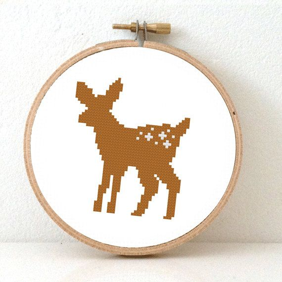 Deer pattern. Deer Cross Stitch pattern forest decor. Bambi white tail deer.