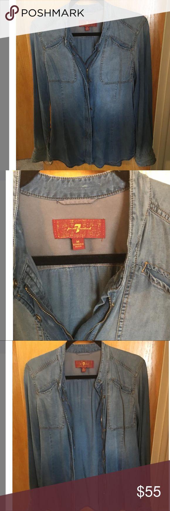 7 FAM Denim shirt Very soft, great quality denim zip up denim shirt 7 For All Mankind Tops Tunics