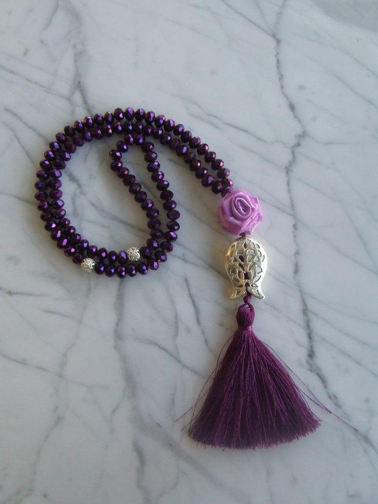 Purple 99 islamic prayer beads with purple flowers, Tasbih, Tesbih, Necklaces