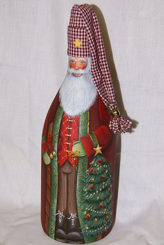 "Beautiful hand painted Santa on wine bottle www.LiquorList.com ""The Marketplace for Adults with Taste!"" @LiquorListcom #liquorList"