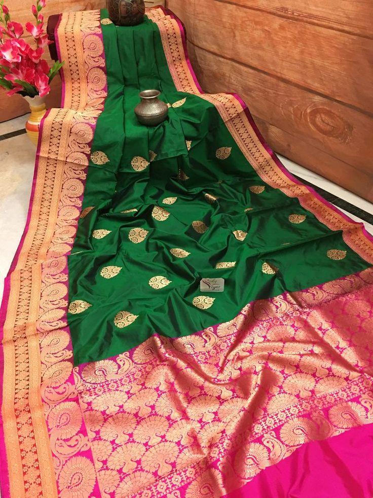 Dark Green and Hot Pink Color Katan Banarasi Saree