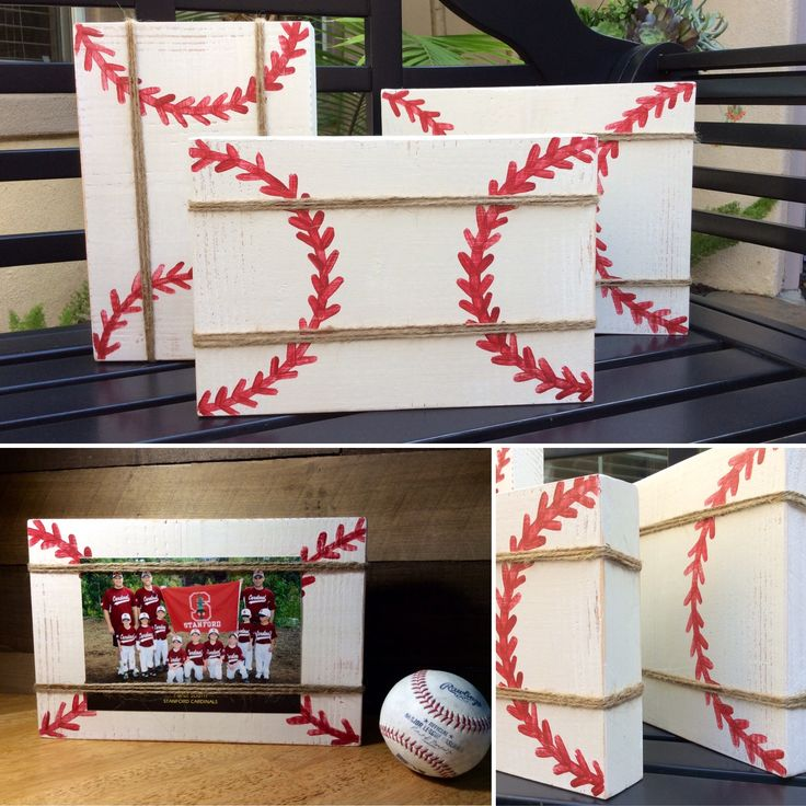 Custom wood block picture frame with twine. Perfect for a baseball coach, player or Father's Day! Email thecreatedsign@gmail.com to order or visit The Created Sign on Facebook.