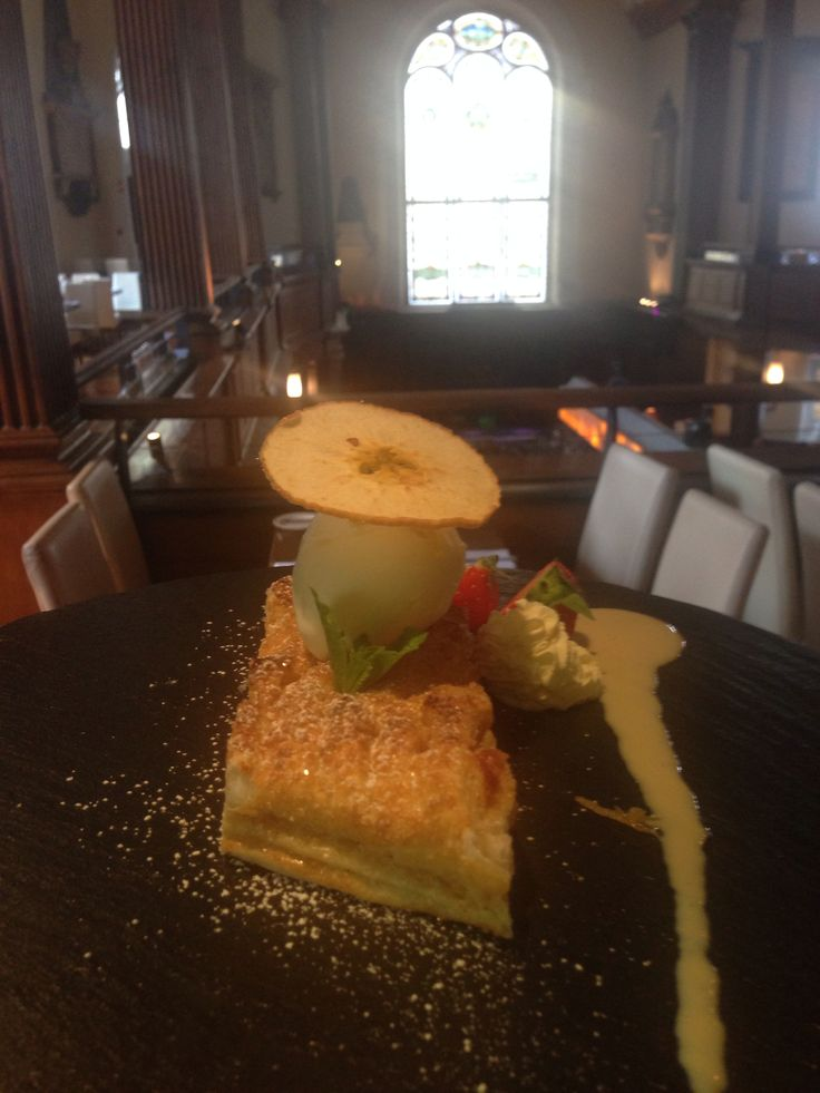 Our Gallery Restaurant Dessert Special: Apple, Cinnamon and Almond Strudel served with Creme Anglaise , Fresh Cream and Apple Crisp...