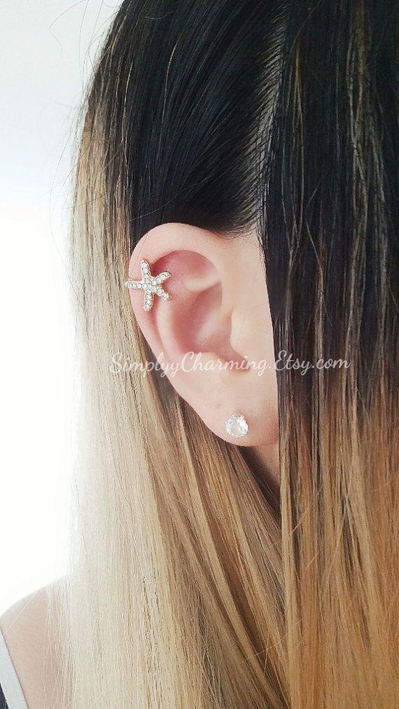 Bloem Rose kraakbeen oor manchet Starfish Rhinestone zilveren Helix Tiny Ear Cuff Earring sieraden