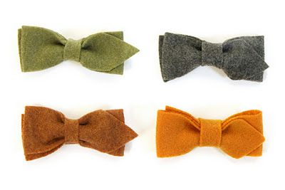 no-sew bow-tie tutorial.  now if only there was a place within 5 minutes around here to find a decent selection of colored felt.