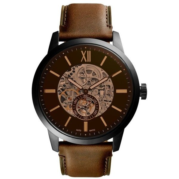 Fossil Townsman Automatic Leather Strap Watch, 48Mm ($245) ❤ liked on Polyvore featuring jewelry, watches, fossil watches, fossil wrist watch, leather strap watches, fossil jewellery and fossil jewelry
